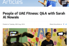 People of UAE Fitness: Q&A with Sarah Al Nowais, 30 August 2016, Fitnesslink.me